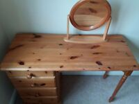 FOR SALE 1 x Pine Dressing Table and Mirror £35