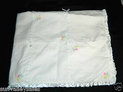 Carters Embroidered Baby Blanket - Carters White Cotton Satin Daisy Embroidered Baby Blanket Satin Ribbon Bows