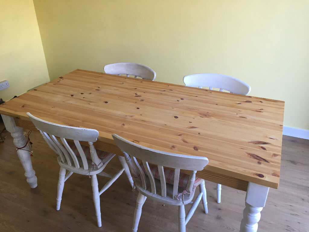PINE DINING TABLE4 CHAIRSin Charlton Kings, GloucestershireGumtree - PINE DINING TABLE & 4 CHAIRS Solid Pine Top All chairs are steady and working (not wobbly) White sections are ready for a re paint see pictures for condition Available for pickup central Cheltenham