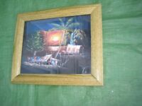 Caribbean Sunset Colour Print in a Wooden Frame and Glass