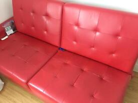 Red Faux Sofa Bed