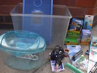 Two small fish (other use) tanks plus other relevant items