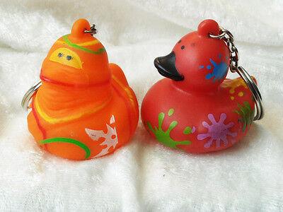 2 Lot American Heart Association Rubber Duck Key Chain Ring Ninja    Splatter