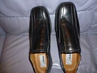 beautiful brand new quality men's black leather shoes (size uk 11) very comfortable,stanmore,middx.