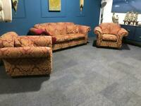 Red and gold kirkdale suite 3 seater sofa and 2 armchairs