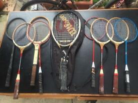 Collection of 9 vintage Tennis Racquets and Badminton Racquets in good condition