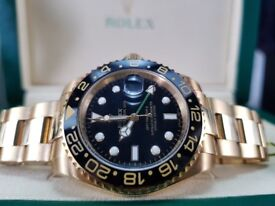 New boxed with papers 40mm gold black dial Rolex GMT Master II watch with Automatic sweeping move