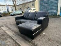 corner sofa black leather Delivery available