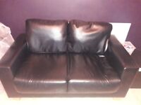 2 seater Black leather Look Sofa