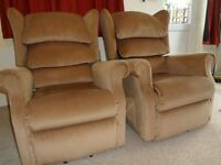 Sherborne lift & rise electric recliner chair - full working order, fabric upholstered (2 available)