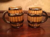 A pair of miniature vintage Wade Barrel Mugs/Tankards for sale  Kingswood, Bristol