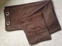 Chocolate brown suede effect full length curtains