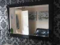 "Large Black Edged Wall Mirror 42"" x 30"""