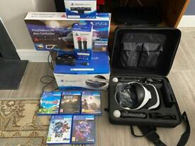 Boxed PlayStation VR, complete bundle with all controller types, storage case & 5 games