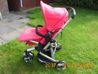 Obaby 'chase' pushchair folding pram in good condition with accessories.