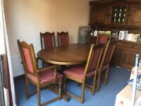 An Old Charm Medium Oak Quality Dining Table With 6 Matching Chairs