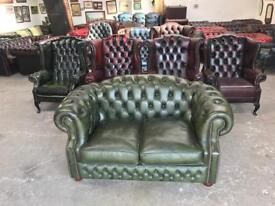 Stunning green leather chesterfield 2 seater sofa UK delivery