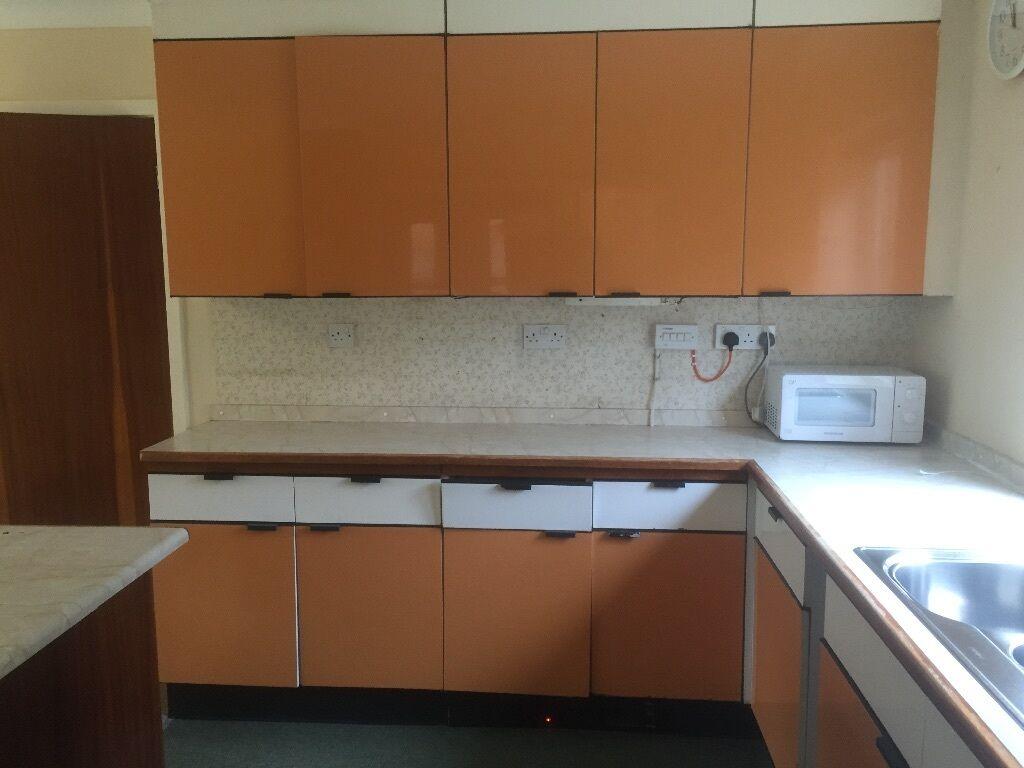 Vintage Hygena Kitchen 60s 70s Orange Units With Sink Aeg Fan Oven
