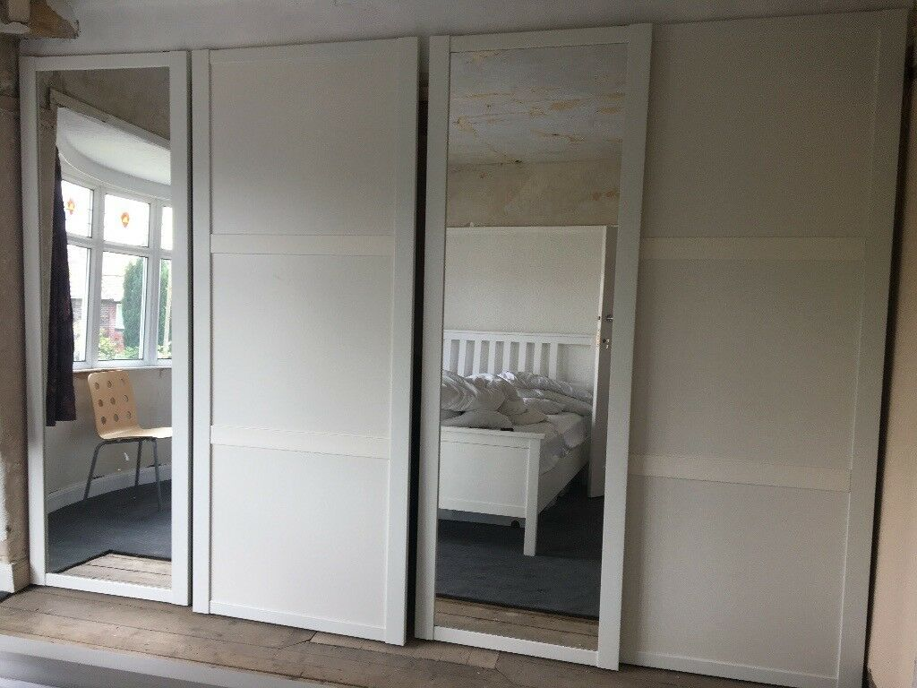 Large 34m Wide White Fitted Sliding Wardrobe Doors 2x Plain And