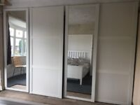 Large 3.4m wide, white fitted sliding wardrobe doors, 2x plain and 2x mirrored including runners