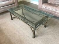 Toughened Bevelled Glass Top and Detailed Metal Table H16in/41cm W48/122cm D26in/66cm R561