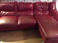 Leather chase long sofa
