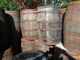 Used oak whiskey barrel for garden patio bar pub wedding