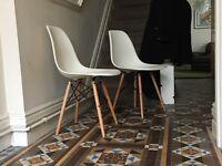2x Vitra Eames DSW Chairs White/Cream