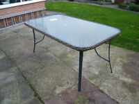 DESIGNER 6 SEATER GLASS TOPPED OUTDOOR DINING TABLE: