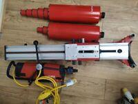Hilti DD200 concrete core drill + 9No. diamond Hilti drill bits