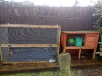 Rabbit hutch and run with toys
