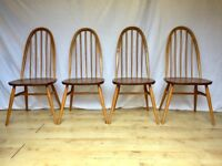 Vintage 4 four set Ercol Windsor hoop dining kitchen chairs