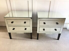 2 x Glass Mirror Cabinets