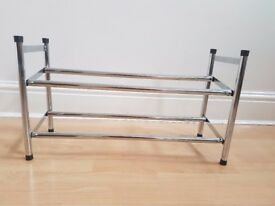 2 Shelf, Extendable Shoe Storage Rack, Chrome Plated