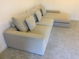 NEUTRAL FABRIC SOFA WITH REMOVEABLE COVERS