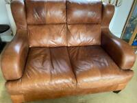 Leather 3 seater and 2 seater sofas