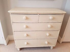 ANTIQUE VICTORIAN SHABBY CHIC PAINTED CHEST OF DRAWERS