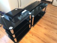 NEED GONE Black and chrome coffee table and entertainment/console table/unit