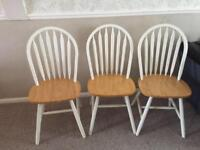 Set of 3 dining chairs wooden
