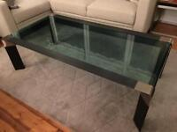Coffee table metal and glass