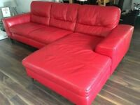Red leather 3 seater chaise sofa and cuddle chair