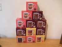 12 x Slogans china mugs ,with boxes