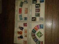 set of four post cards with Spanish stamps on