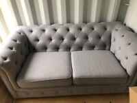X2 LIGHT GREY CHESTERFIELD 2 SEATER SOFAS