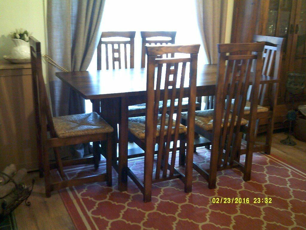 Art Deco Nouveau Style Dining Table With 6 Matching Chairs