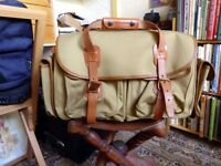 Billingham 550 Camera or Travel Bag - Khaki Canvas/Tan leather Unused, almost new condition