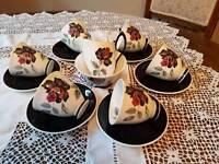 Vintage Royal Albert 'Masquerade' Bone China Coffee Set