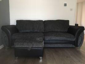 4 seater sofa & footstool