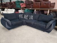 5 seater fabric corner sofa in very good condition cushions chrome feets DELIVERY