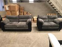 New grey 3 + 2 chord sofa suite